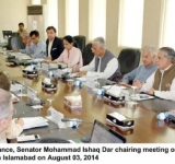 Federal Minister for Finance, Senator Mohammad Ishaq Dar chairing meeting on Pakistan Power Sector Investment Prospects in Islamabad on August 03, 2014