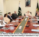 Minister of State for National Health Services, Regulations and Coordination, Mrs. Saira Afzal Tarar chairing a high level meeting in Islamabad on July 26, 2014