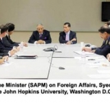 """The Special Assistant to the Prime Minister (SAPM) on Foreign Affairs, Syed Tariq Fatemi addressing a roundtable discussion held at the John Hopkins University, Washington D.C on """"U.S.-Pakistan relations: the way forward.."""