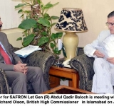 Federal Minister for SAFRON Let Gen (R) Abdul Qadir Baloch is meeting with US Ambassador Richard Olson, British High Commissioner   in Islamabad on July 25, 2014
