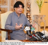 Federal Minister for Interior and Narcotics Control, Chaudhry Nisar Ali Khan addressing a press conference in Islamabad on July 27, 2014