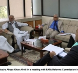 Federal Minister for Textile Industry Abbas Khan Afridi in a meeting with FATA Reforms Commission in Islamabad on July 11, 2014