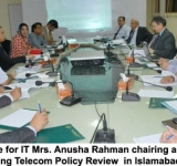 Minister of State for IT Mrs. Anusha Rahman chairing a consultative meeting regarding Telecom Policy Review  in Islamabad on July 11, 2014