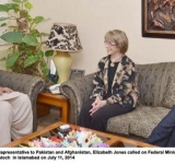 US Principal Deputy Special Representative to Pakistan and Afghanistan, Elizabeth Jones called on Federal Minister for SAFRON Let Gen (Retd) Abdul Qadir Baloch  in Islamabad on July 11, 2014