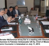 Federal Minister for Finance, Senator Muhammad Ishaq Dar in a meeting with Elizabeth Jones-Principal Deputy Special Representative to Afghanistan & Pakistan Ambassador US Dy. Chief of Mission- Thomas Williams, Ms. Sarah M. Beran- US Economic Counselor in Islamabad on July 11, 2014