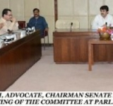 SENATOR MUHAMMAD DAUD KHAN ACHAKZAI, ADVOCATE, CHAIRMAN SENATE STANDING COMMITTEE ON COMMUNICATIONS AND POSTAL SERVICES, PRESIDING OVER A MEETING OF THE COMMITTEE AT PARLIAMENT HOUSE ISLAMABAD ON JULY 11, 2014.