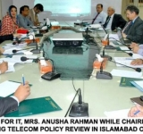 MINISTER OF STATE FOR IT, MRS. ANUSHA RAHMAN WHILE CHAIRING A CONSULTATIVE MEETING REGARDING TELECOM POLICY REVIEW IN ISLAMABAD ON JULY 12, 2014