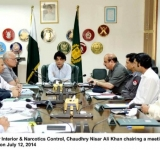 Federal Minister for Interior & Narcotics Control, Chaudhry Nisar Ali Khan chairing a meeting regarding law and order in Islamabad on July 12, 2014