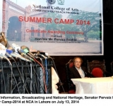 Federal Minister for Information, Broadcasting and National Heritage, Senator Pervaiz Rashid addressing the students of Summer Camp-2014 at NCA in Lahore on July 13, 2014