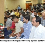 Federal Minister for Railways, Khawaja Saad Rafique addressing a press conference in Lahore on July 13, 2014