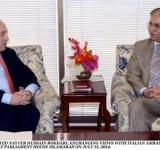 CHAIRMAN SENATE, SYED NAYYER HUSSAIN BOKHARI, EXCHANGING VIEWS WITH ITALIAN AMBASSADOR, MR. ADRIANO CHIODI CIANFARANI AT PARLIAMENT HOUSE ISLAMABAD ON JULY 15, 2014.