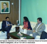 Dr. Miftah Ismail Special Assistant to Prime Minister / Chairman Board of Investment meeting with Ms Farah Water's delegation, UK on 15-7-2014 in Islamabad