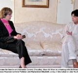 Federal Minister for Interior and Narcotics Control, Chaudhry  Nisar Ali Khan in a meeting with US Principal Deputy Special Representative to Pakistan and Afghanistan Elizabeth Jones, in Islamabad on July 15, 2014