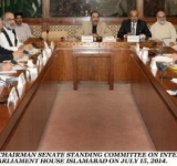 SENATOR MUHAMMAD TALHA MEHMOOD, CHAIRMAN SENATE STANDING COMMITTEE ON INTERIOR AND NARCOTICS CONTROL PRESIDING OVER A MEETING OF THE COMMITTEE AT PARLIAMENT HOUSE ISLAMABAD ON JULY 15, 2014.