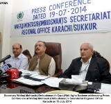 Secretary Wafaqi Mohtasib (Ombudsman)'s Capt.(Rtd) Agha Nadeem addressing Press Conference at Wafaqi Mohtasib (Ombudsman)'s Secretariat Regional Office Karachi on 19 July 2014