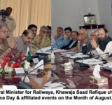 Islamabad, July 21, 2014: Federal Minister for Railways, Khawaja Saad Rafique chairing a Parliamentary meeting for arrangement of Independence Day & affiliated events on the Month of August.