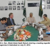Federal Minister for SAFRON Lt. Gen. (Retd) Abdul Qadir Baloch chairing a meeting regarding briefing about IDPs to International NGOs and UN agencies in Islamabad on July 21, 2014