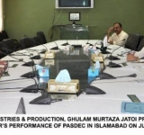 FEDERAL MINISTER FOR INDUSTRIES & PRODUCTION, GHULAM MURTAZA JATOI PRESIDING OVER A MEETING TO EVALUATE LAST ONE YEAR'S PERFORMANCE OF PASDEC IN ISLAMABAD ON JULY 21, 2014.