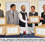 Islamabad: 22nd July - Ambassador of Argentine Rodolfo Martin Saravia handing over boxes of water purification tablets for the internally displaced persons of North Waziristan.
