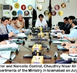 Federal Minister for Interior and Narcotic Control, Chaudhry Nisar Ali Khan chairing a meeting of heads of attached departments of the Ministry in Islamabad on July 22, 2014