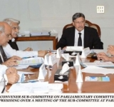 SENATOR FAROOQ H. NAEK, CONVENER SUB-COMMITTEE ON PARLIAMENTARY COMMITTEE ON JUDGES APPOINTMENT IN THE SUPERIOR COURTS, PRESIDING OVER A MEETING OF THE SUB-COMMITTEE AT PARLIAMENT HOUSE ISLAMABAD ON JULY 22, 2014.