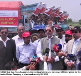Chairman NDMA Maj. Gen. Saeed Aleem during handing taking over ceremony of Relief goods for the IDPs by Toyota Indus Motors Company in Islamabad on July 22, 2014