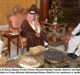 Prince Muqrin bin Abdulaziz Al Saud, Deputy Crown Prince,  Second Deputy Premier, Advisor and Special Envoy of the Custodian of the Two Holy Mosques  called on Prime Minister Mohammed Nawaz Sharif at his residence  in Jeddah.