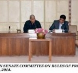 SENATOR COL ® SYED TAHIR HUSSAIN MASHHADI, CHAIRMAN SENATE COMMITTEE ON RULES OF PROCEDURE AND PRIVILEGES PRESIDING OVER A MEETING OF THE COMMITTEE AT PARLIAMENT HOUSE ISLAMABAD ON JULY 23, 2014.