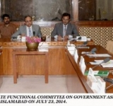 SENATOR SAEED GHANI, CHAIRMAN SENATE FUNCTIONAL COMMITTEE ON GOVERNMENT ASSURANCES, PRESIDING OVER A MEETING OF THE COMMITTEE AT PARLIAMENT HOUSE ISLAMABAD ON JULY 23, 2014.