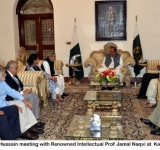 President Mamnoon Hussain meeting with Renowned Intellectual Prof Jamal Naqvi at  Karachi on 22 July 2014