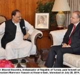 Mr. Mourad Bourehla, Ambassador of Republic of Tunisia, paid farewell call on President Mamnoon Hussain at Aiwan-e-Sadr, Islamabad on July 28, 2014.
