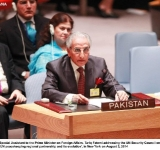 Special Assistant to the Prime Minister on Foreign Affairs, Tariq Fatemi addressing the UN Security Council on 'UN peacekeeping regional partnership and its evolution', in New York on August 3, 2014