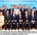 ADVISER TO THE PM ON NATIONAL SECURITY AND FOREIGN AFFAIRS SARTAJ AZIZ IN A GROUP PHOTO WITH THE PARTICIPANTS OF CHINA-PAKISTAN THINK-TANK SEMINAR ON BUILDING CHINA-PAKISTAN COMMUNITY OF SHARED DESTINY IN THE NEW ERA, ISLAMABAD ON AUGUST 5, 2014.