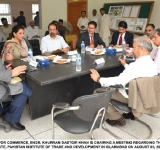 FEDERAL MINISTER FOR COMMERCE, ENGR. KHURRAM DASTGIR KHAN IS CHAIRING A MEETING REGARDING THE ESTABLISHMENT OF A RESEARCH INSTITUTE PAKISTAN INSTITUTE OF TRADE AND DEVELOPMENT IN ISLAMABAD ON AUGUST 05, 2014.
