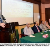 FEDERAL MINISTER FOR COMMERCE, ENGR. KHURRAM DASTGIR KHAN IS EXPRESSING HIS VIEWS AS CHIEF GUEST IN A LITERARY REFERENCE IN HONOUR OF LATE MR. MAJID NIZAMI IN ISLAMABAD ON AUGUST 05, 2014.