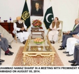 PRIME MINISTER MUHAMMAD NAWAZ SHARIF IN A MEETING WITH PROMINENT POLITICAL LEADERS AT PM'S HOUSE ISLAMABAD ON AUGUST 05, 2014.