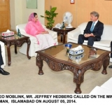 NEWLY APPOINTED CEO MOBLINK MR. JEFFREY HEDBERG CALLED ON THE MINISTER OF STATE FOR IT MRS. ANUSHA RAHMAN  AT ISLAMABAD ON AUGUST 05, 2014.