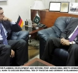 FEDERAL MINISTER FOR PLANNING, DEVELOPMENT AND REFORM, PROF. AHSAN IQBAL MEETS GERMAN AMBASSADOR TO PAKISTAN, DR. CYRILL NUNN TO DISCUSS BILATERAL TIES OF PAKISTAN AND GERMANY IN ISLAMABAD ON AUGUST 05, 2014.