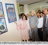 SECRETARY INFORMATION & BROADCASTING AND NATIONAL HERITAGE, MUHAMMAD AZAM WITNESSING A PAINTING EXHIBITION REPRESENTING THE CULTURE OF PAKISTAN IN ISLAMABAD ON AUGUST 05, 2014.