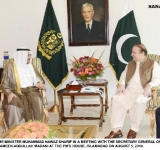 PRIME MINISTER MUHAMMAD NAWAZ SHARIF IN A MEETING WITH THE SECRETARY GENERAL OF OIC, MR. AMEEN ABDULLAH MADANI AT THE PM'S HOUSE, ISLAMABAD ON AUGUST 5, 2014.