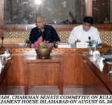SENATOR COL ® SYED TAHIR HUSSAIN MASHHADI, CHAIRMAN SENATE COMMITTEE ON RULES OF PROCEDURE AND PRIVILEGES PRESIDING OVER A MEETING OF THE COMMITTEE AT PARLIAMENT HOUSE ISLAMABAD ON AUGUST 05, 2014.
