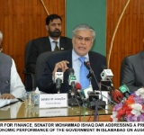 FEDERAL MINISTER FOR FINANCE, SENATOR MOHAMMAD ISHAQ DAR ADDRESSING A PRESS CONFERENCE ON ONE YEAR ECONOMIC PERFORMANCE OF THE GOVERNMENT IN ISLAMABAD ON AUGUST 06, 2014.