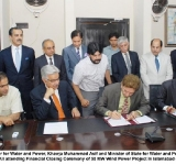 Federal Minister for Water and Power, Khawja Muhammad Asif and Minister of State for Water and Power , Ch. Abid Sher Ali attending Financial Closing Ceremony of 50 MW Wind Power Project in islamabad on July 7, 2014