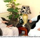 BISP Chairman, Enver Baig, called on Federal Minister for SAFRON, Let. Gen (R) Abdulqadir Baloch in Islamabad on July 7, 2014
