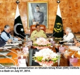President Mamnoon Hussain chairing a presentation on Ghulam Ishaq Khan (GIK) institute of Engineering Sciences and Technology at Aiwan-e-Sadr on July 07, 2014.
