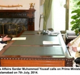 Minister for Religious Affairs Sardar Muhammad Yousaf calls on Prime Minister Muhammad Nawaz Sharif at PM House Islamabad on 7th July, 2014.