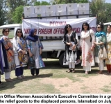 Pakistan Foreign Office Women Association's Executive Committee in a group photo while sending the relief goods to the displaced persons, Islamabad on July 7, 2014