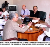 MINISTER OF STATE FOR CAPITAL ADMINISTRATION & DEVELOPMENT DIVISION, BARRISTER USMAN IBRAHIM, CHAIRING A MEETING REGARDING THE ISSUES OF IDPs WITH ED, FGPC AND DIRECTOR NIRM IN ISLAMABAD ON JULY 7, 2014