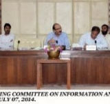 SENATOR KAMIL ALI AGHA, CHAIRMAN SENATE STANDING COMMITTEE ON INFORMATION AND BROADCASTING PRESIDING OVER A MEETING OF THE COMMITTEE AT PARLIAMENT HOUSE ISLAMABAD ON JULY 07, 2014.