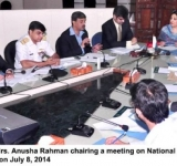 Minister of State for IT, Mrs. Anusha Rahman chairing a meeting on National Cyber Security response committee in Islamabad on July 8, 2014